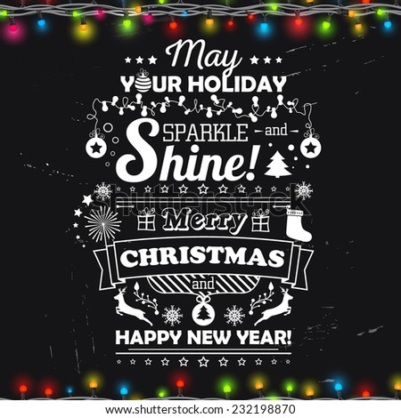 Beautiful greeting card. Congratulatory text merry Christmas. Lettering, garlands with the glow and banner. Vector illustration. - stock vector