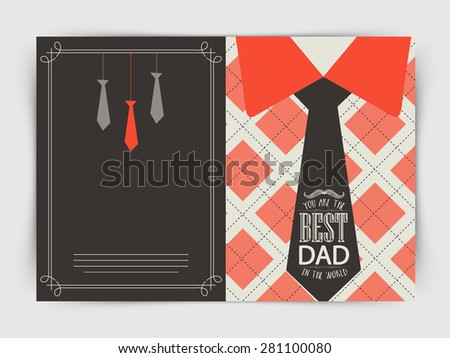 Beautiful greeting card design for Happy Father's Day celebrations with shirt and neck-tie and stylish text Best Dad.  - stock vector