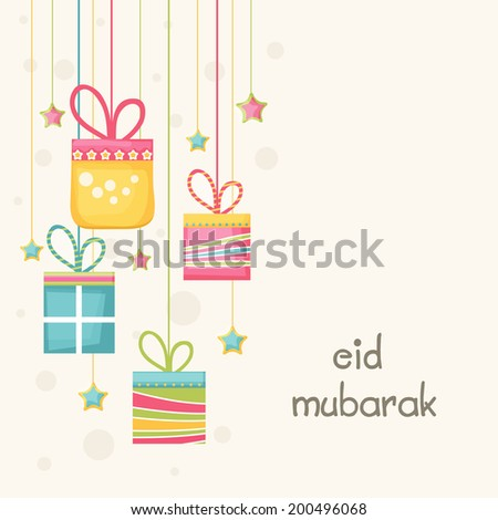Beautiful greeting card design with hanging colorful gift boxes and stars on beige background  for Muslim community festival Eid Mubarak celebrations.