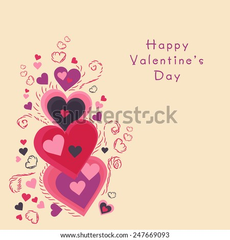 Beautiful greeting card design with hearts for Happy Valentines Day celebration.
