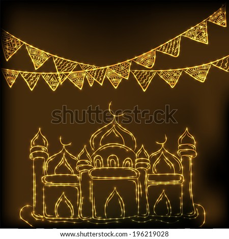 Beautiful greeting card design with illustration of a golden mosque and ribbon on brown backgrounf for celebration of holy month of Ramadan Mubarak.  - stock vector