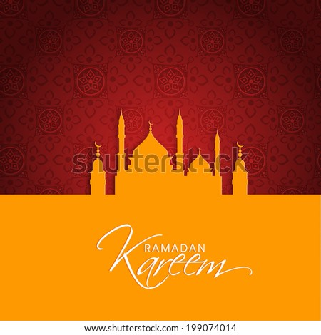 Beautiful greeting card design with mosque for holy month of Muslim community Ramadan Kareem.  - stock vector