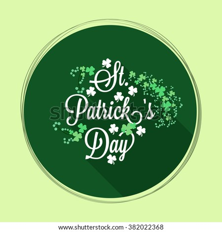 Beautiful greeting card design with Shamrock leaves for Happy St. Patrick's Day celebration. - stock vector