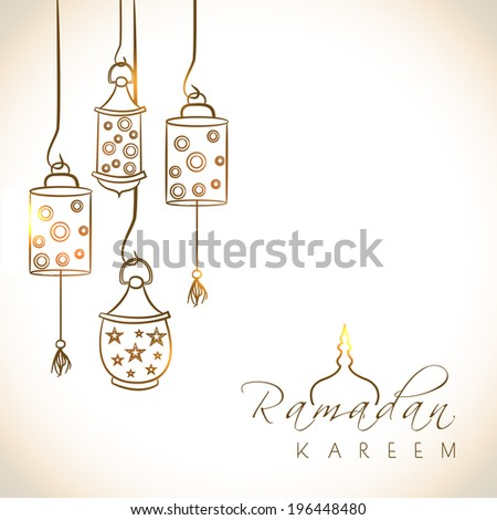 Beautiful greeting card design with shiny arabic lanterns on brown background for holy month of muslim community Ramadan Kareem.  - stock vector
