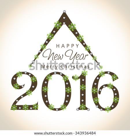 Beautiful greeting card design with stylish text 2016 decorated by snowflakes for Happy New Year and Merry Christmas celebration. - stock vector