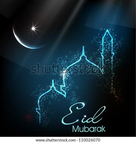 Beautiful greeting card eid mubarak festival stock vector hd beautiful greeting card for eid mubarak festival with shiny mosque and masjid image eps 10 m4hsunfo