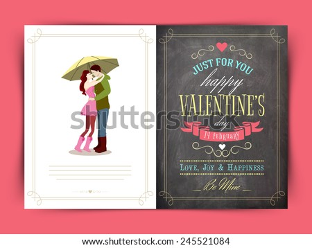 Beautiful greeting card for Happy Valentines Day celebration. - stock vector