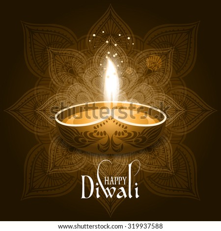 Beautiful greeting card for Hindu community festival Diwali / Happy diwali festival background illustration / Card design for Diwali festival with beautiful lamps. - stock vector