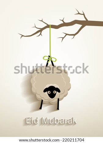 Beautiful greeting card for Muslim community festival of sacrifice , Lamb hanging on a tree branch .festival of sacrifice - stock vector