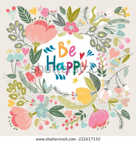 """Beautiful greeting card """"Thank you"""". Bright illustration, can be used as creating card,invitation card for wedding,birthday and other holiday and cute summer background. - stock vector"""