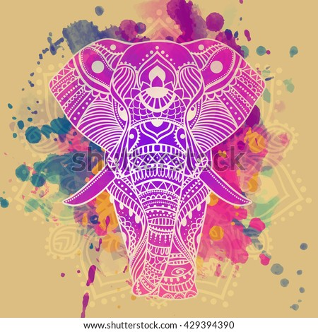 Beautiful Greeting card with elephant Frame of animals elephant vector illustration design template for textile Hand drawn map with Elephant bright prints on T shirts and cups canvas of another object - stock vector