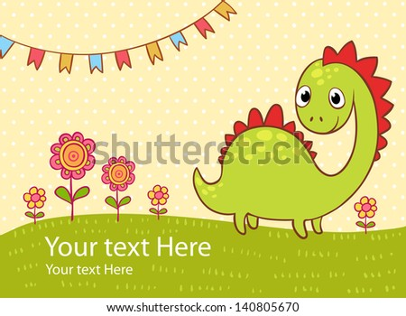 Beautiful greeting card with the dragon, flowers and flags. Vector party invitation. - stock vector