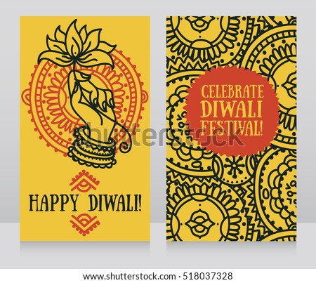 Beautiful greeting cards for diwali festival with indian god's hand and lotus, vector illustration