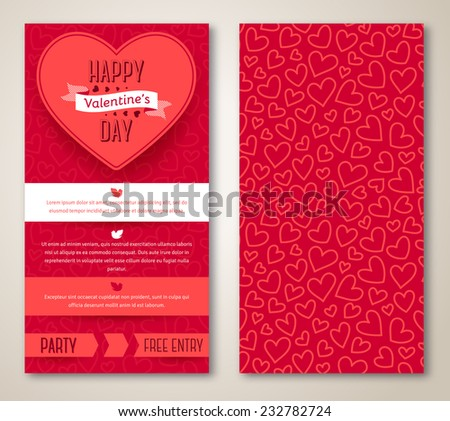 Beautiful greeting cards with heart pattern. Valentine's day. Vector illustration. Typographic template for your text. - stock vector