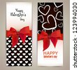 Beautiful greeting cards with red bows and copy space. Valentine's day. Vector illustration - stock photo