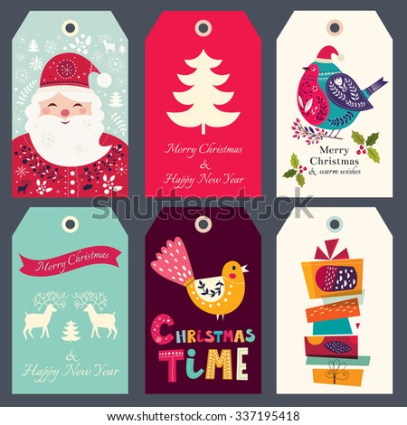 Beautiful greeting tags with Santa Claus, bullfinch and gift boxes - stock vector