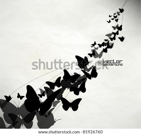 beautiful grunge butterfly vector background - stock vector