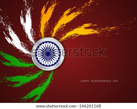 beautiful grungy Indian flag theme design on brown color background.  - stock vector