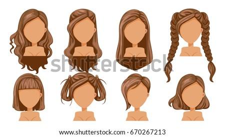 beautiful hairstyle woman modern fashion assortment stock