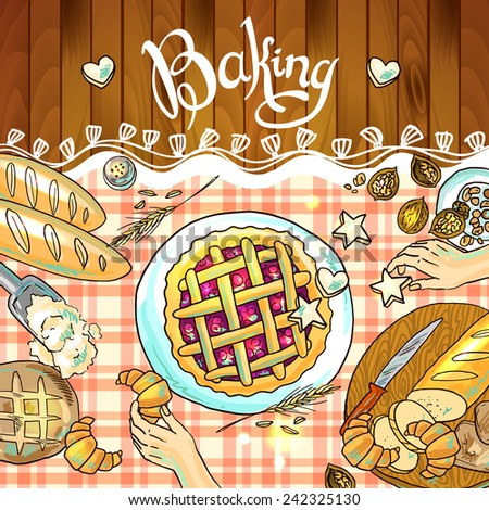 beautiful hand-draw illustration baking on the checkered tablecloth - stock vector