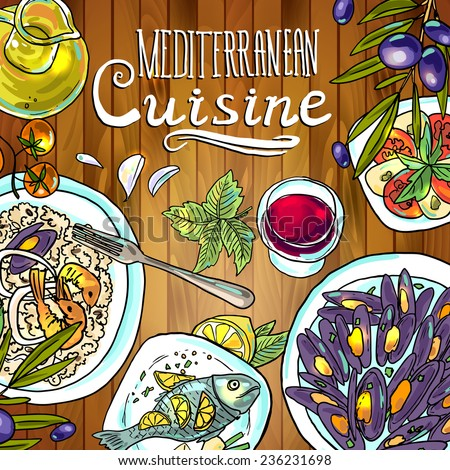 beautiful hand-draw illustration Mediterranean cuisine- food on the wood texture - stock vector