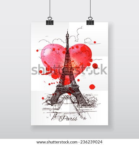 Beautiful hand-draw poster Paris and watercolor heart - stock vector