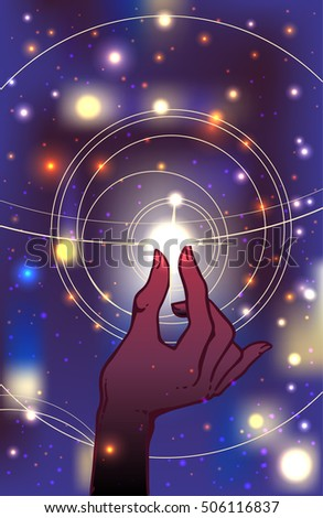 Beautiful hand-drawing watercolor hand is holding star on cosmos background. Vector illustration  isolated. Tattoo design, mystic magic symbol for your use.