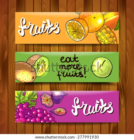 Beautiful hand drawn banners fruits on the wood texture