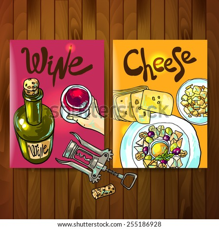 Beautiful hand drawn flayers cheese and wine top view - stock vector