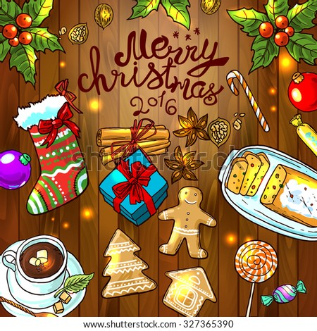 Beautiful hand drawn food illustration christmas sweets top view - stock vector