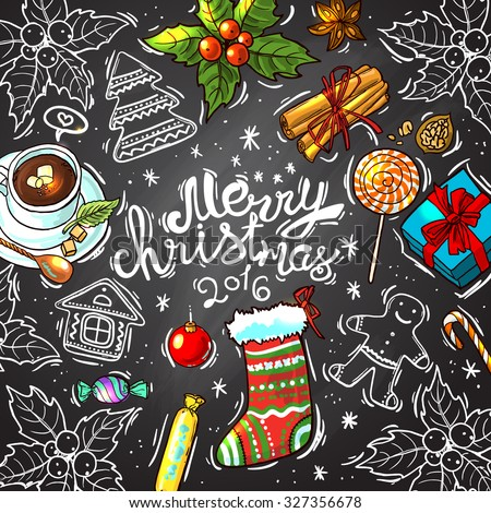 Beautiful hand drawn food illustration christmas sweets top view on the calkboard - stock vector