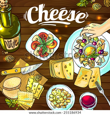Beautiful hand drawn illustration cheese top view - stock vector
