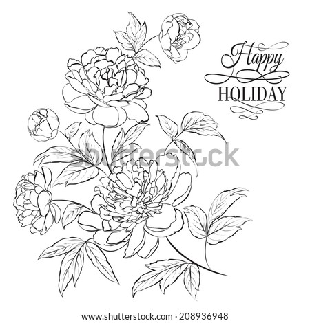 Beautiful hand drawn illustration of peony on a white background. - stock vector