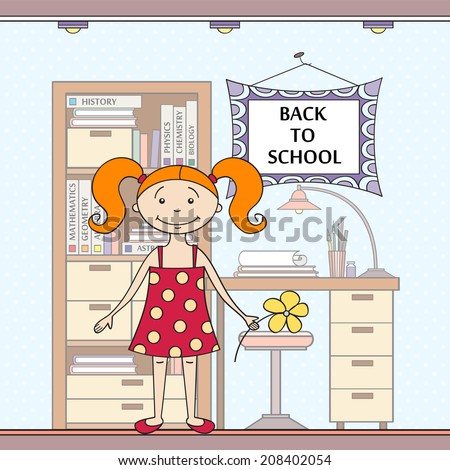 Beautiful hand drawn illustration with school attributes and girl. Illustration for use in design, made in vector