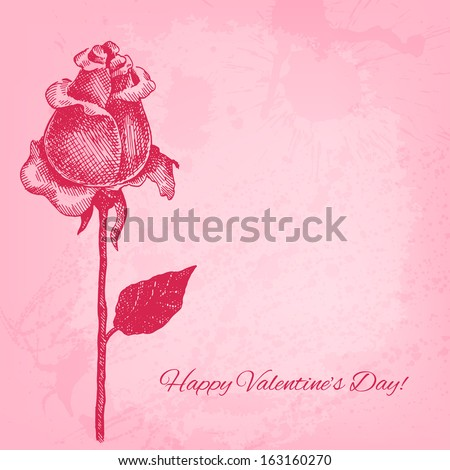 Beautiful hand drawn rose. Vector valentine background - stock vector