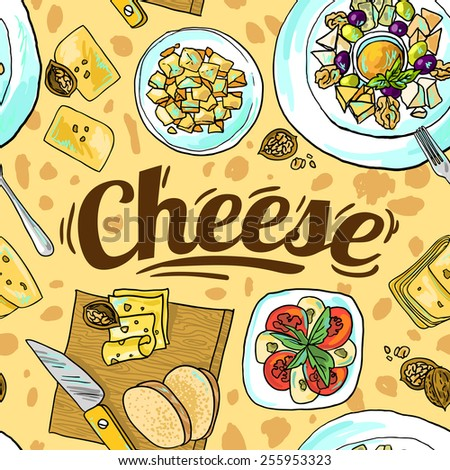 Beautiful hand drawn seamless pattern cheese top view