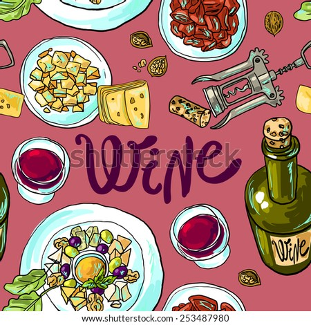 Beautiful hand drawn seamless pattern wine and cheese top view - stock vector