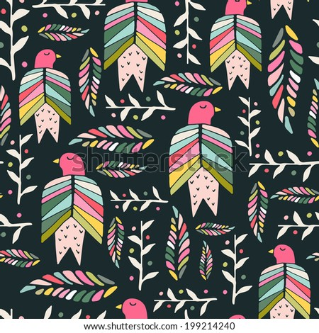 Beautiful hand drawn seamless pattern with birds and flowers made in vector. Texture can be used for web site background, on banners, invitations and on your other designs.  - stock vector