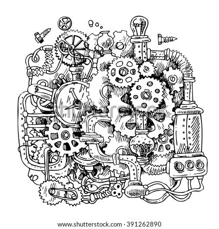 Beautiful hand drawn sketch steampunk mechanism. Time machine. - stock vector