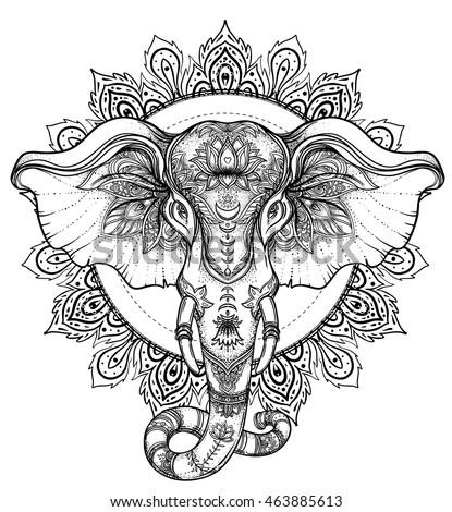 Dotwork mandala stock images royalty free images for Elephant mandala coloring pages