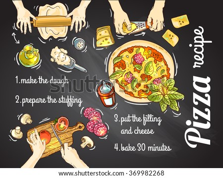 Beautiful hand drawn vector illustration cooking pizza for your design - stock vector