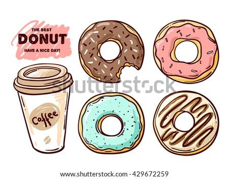 Beautiful Hand Drawn Vector Illustration Donut Stock ...