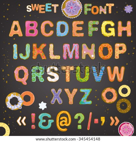 Beautiful hand drawn vector typeface in the shape of freshly baked cakes with multicolored hard sauce decoration. Sweet font for creating cute postcards, food placards, posters and romantic invitations.