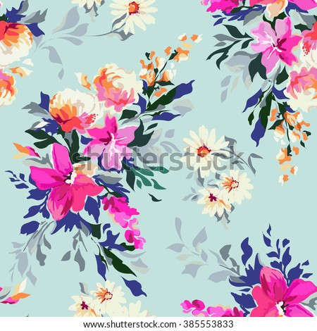 beautiful hand painted floral print ~ seamless background