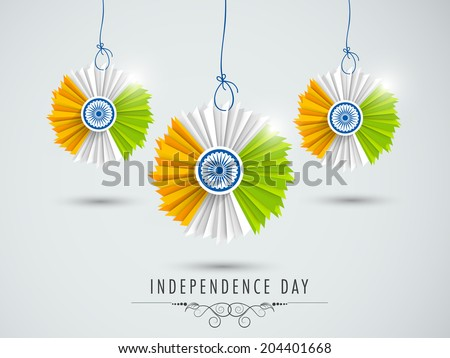 Beautiful hanging decorative in Indian National Flag colors on grey background for 15th of August, Independence Day celebrations.  - stock vector