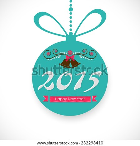 Beautiful hanging X-mas ball decorated with jingle ball for Happy New Year celebrations on shiny white background. - stock vector
