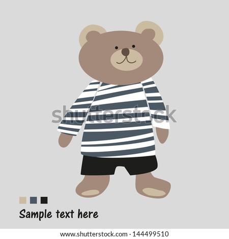 beautiful happy bear in pants - stock vector