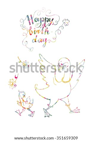 Beautiful happy birthday card mother goose stock photo photo beautiful happy birthday card mother goose with her little child colorful ornamental lines bookmarktalkfo Images