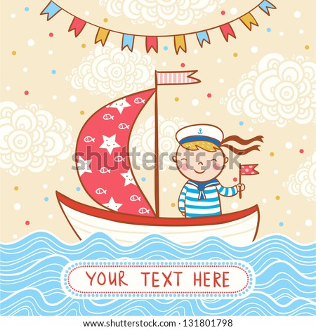 Beautiful happy birthday greeting card with boy, ship and sea. Vector party invitation. - stock vector