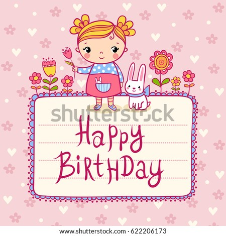 Beautiful Happy Birthday Greeting Card Flowers Stock Vector Royalty
